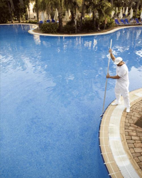 Pool Maintenance - equipment poolside ready for maintenance service